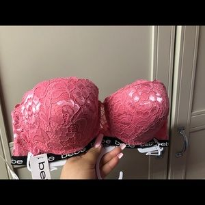 Pink colored bra